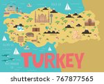 illustration map of turkey with ... | Shutterstock .eps vector #767877565