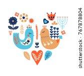 nordic ornaments  folk art...   Shutterstock .eps vector #767878804