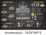 vintage chalk drawing seafood... | Shutterstock .eps vector #767878975