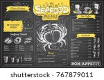 vintage chalk drawing seafood... | Shutterstock .eps vector #767879011