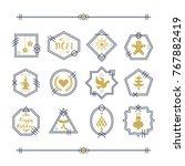 trendy golden and navy blue...   Shutterstock .eps vector #767882419