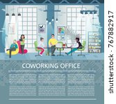 coworking office concept with... | Shutterstock .eps vector #767882917