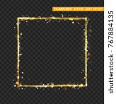 gold frame with glowing lights... | Shutterstock .eps vector #767884135
