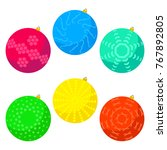 six multi colored christmas... | Shutterstock .eps vector #767892805