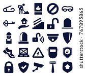 set of 25 safety filled icons... | Shutterstock .eps vector #767895865