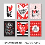 set of romantic greeting cards... | Shutterstock .eps vector #767897347