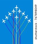 airplane flying formation in... | Shutterstock .eps vector #767898049