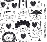 seamless pattern with head