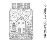 Christmas Jar. Vector Hand...