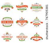 set of christmas sale vintage... | Shutterstock .eps vector #767905381