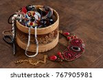 jewelry in a wooden box. many... | Shutterstock . vector #767905981