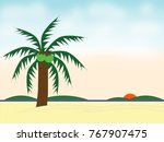 the coconut tree on the beach... | Shutterstock . vector #767907475