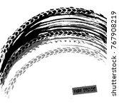 tire tracks print texture.... | Shutterstock .eps vector #767908219