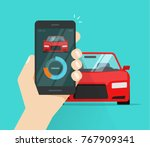 smart car and smartphone... | Shutterstock .eps vector #767909341