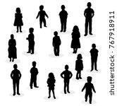 isolated silhouette children | Shutterstock . vector #767918911