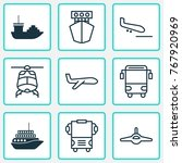 delivery icons set with plane ...   Shutterstock .eps vector #767920969