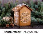 homemade christmas gingerbread... | Shutterstock . vector #767921407