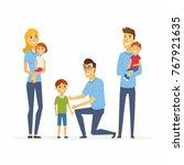 volunteers help children  ... | Shutterstock .eps vector #767921635