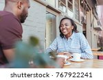smiling young african couple... | Shutterstock . vector #767922241