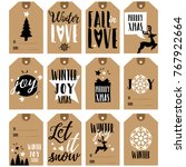gift tags collection. christmas ... | Shutterstock .eps vector #767922664