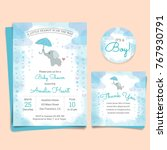 Stock vector baby shower invitation card with elephant 767930791
