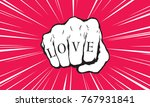 punch fist with love message | Shutterstock .eps vector #767931841
