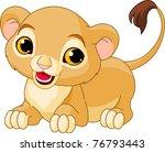 Raring Cute Lion Cub Of A Whit...