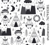 seamless pattern with tribal... | Shutterstock .eps vector #767935381
