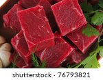 raw fresh beef meat slices in a ...   Shutterstock . vector #76793821