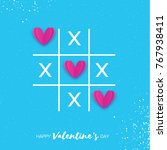 tic tac toe game with criss... | Shutterstock .eps vector #767938411