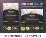 certificate template with... | Shutterstock .eps vector #767939545