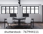 modern office interior with... | Shutterstock . vector #767944111