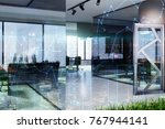 glass wall office corner with... | Shutterstock . vector #767944141