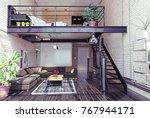 modern loft interior design.... | Shutterstock . vector #767944171
