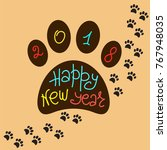 greeting card happy new year.... | Shutterstock .eps vector #767948035