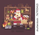santa claus sitting at the desk ... | Shutterstock .eps vector #767955415