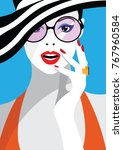 fashion woman in style pop art. ... | Shutterstock .eps vector #767960584