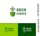 green garden logo template... | Shutterstock .eps vector #767964409