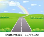 asphalt road in the green... | Shutterstock .eps vector #76796620