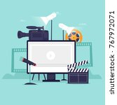 video recording. flat design... | Shutterstock .eps vector #767972071