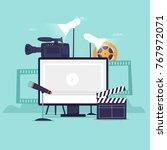 video recording. flat design... | Shutterstock .eps vector #767972071