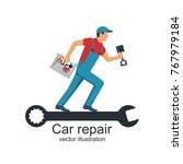auto mechanic with toolbox and... | Shutterstock .eps vector #767979184