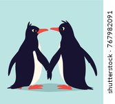 Cute Penguins In Love. Family...