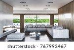 modern bright interiors 3d... | Shutterstock . vector #767993467