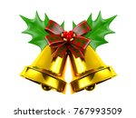 christmas bell with holly...   Shutterstock . vector #767993509