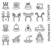 set christmas carnivals caps.... | Shutterstock .eps vector #767997439