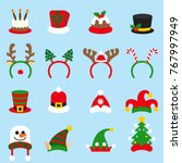 flat icon set christmas... | Shutterstock .eps vector #767997949