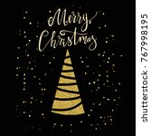 merry christmas card with gold...   Shutterstock .eps vector #767998195