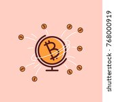 bitcoin world icon.... | Shutterstock .eps vector #768000919