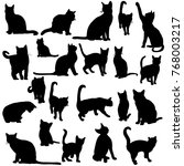 silhouette of the cat set | Shutterstock .eps vector #768003217
